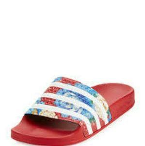 4bfe9c8bda26e adidas Shoes - ADIDAS RED FLORAL SLIDES SIZE 9 WOMEN